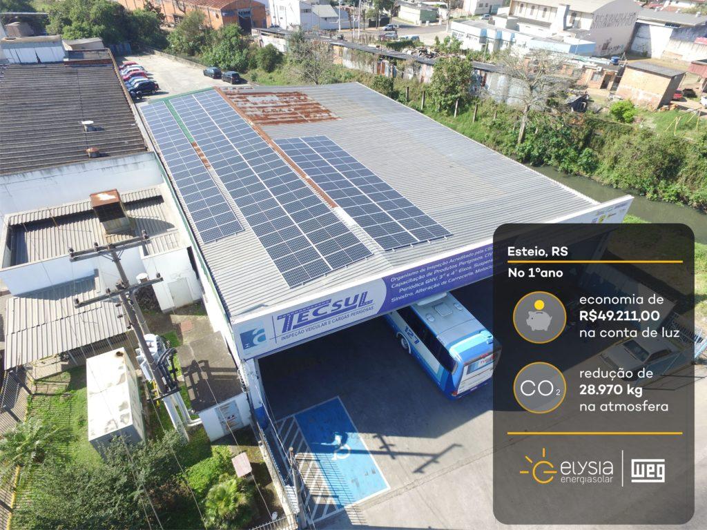 Energia solar no comércio - Elysia sistema fotovoltaico Rio Grande do Sul