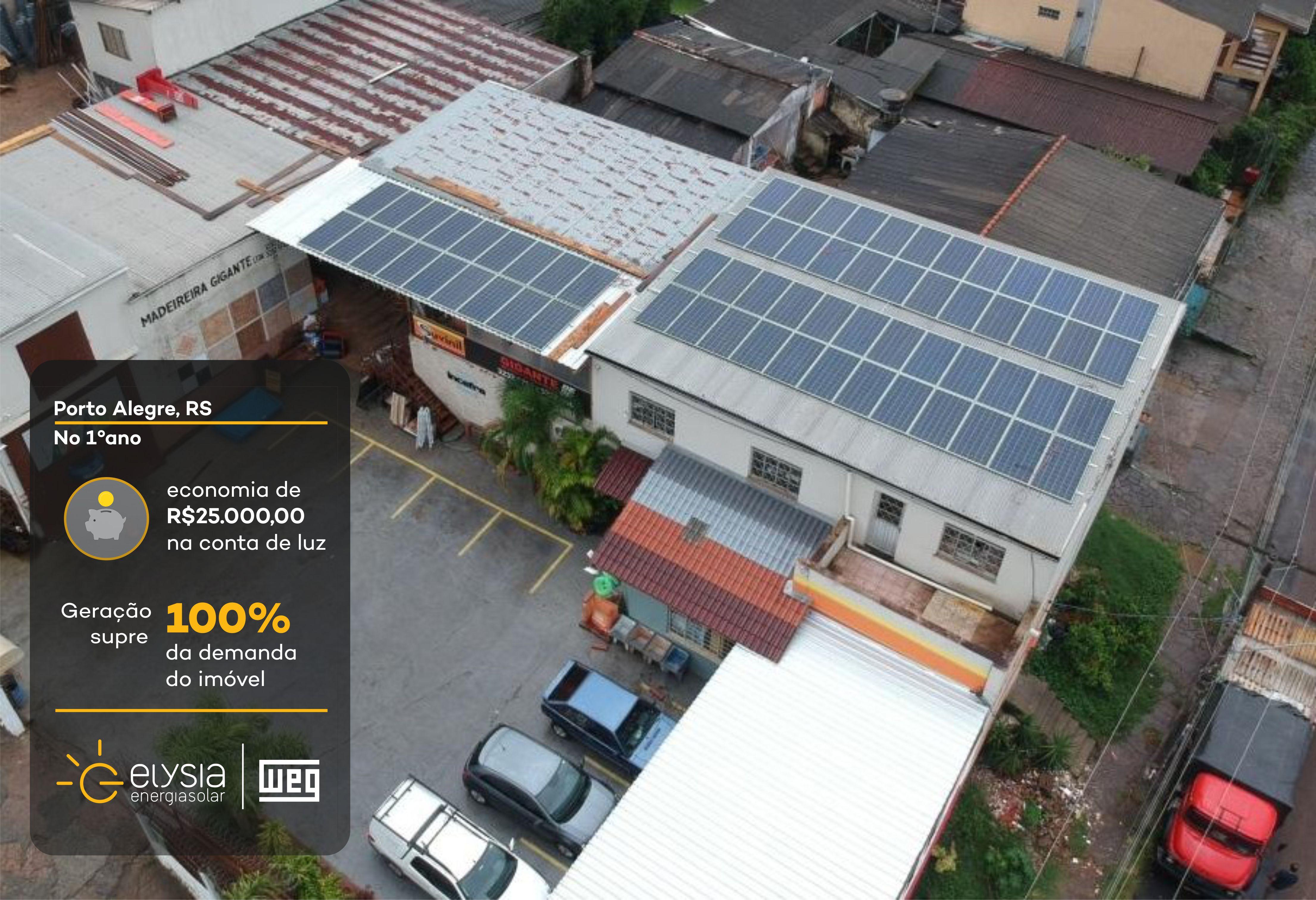 Sistema fotovoltaico comercial - Elysia energia solar porto alegre