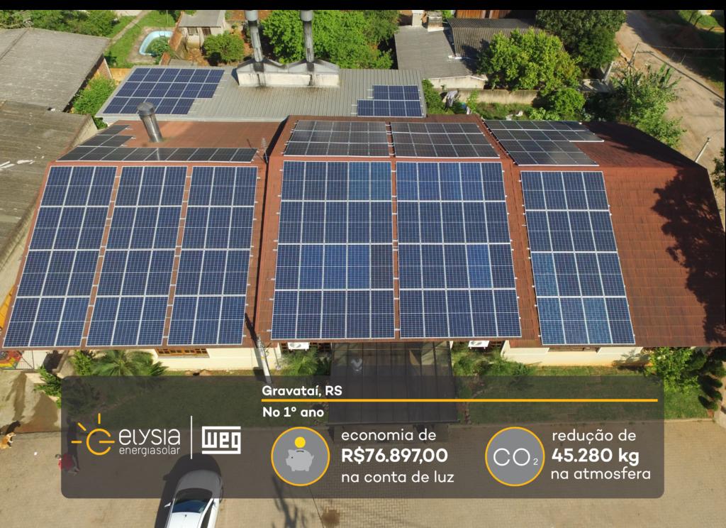 Energia solar em restaurante - Elysia sistema fotovoltaico Gravataí
