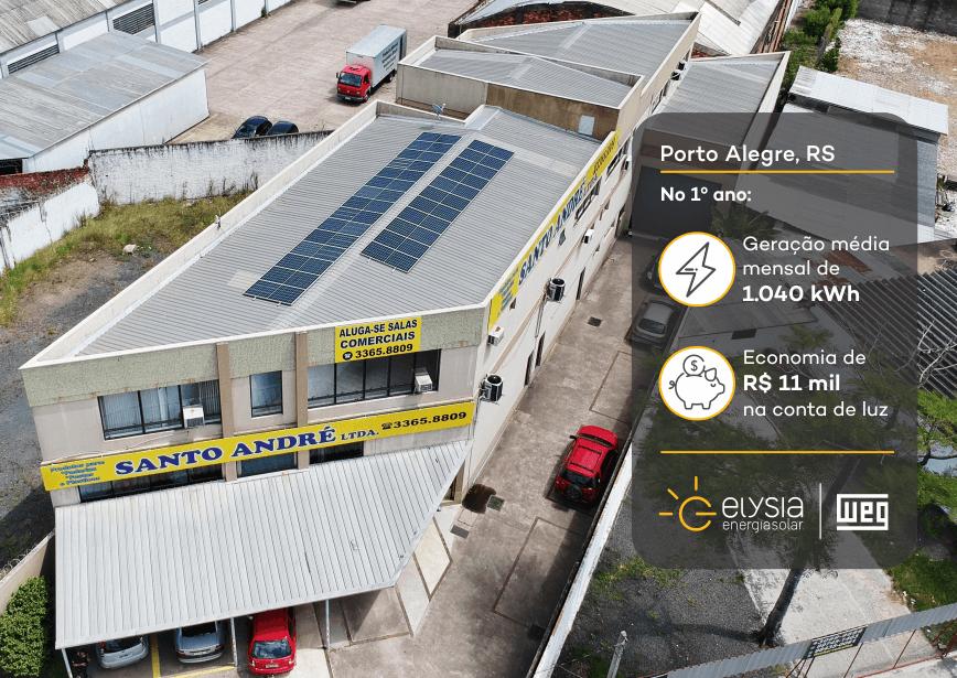 Energia solar comercial em Porto Alegre - Elysia sistema fotovoltaico RS