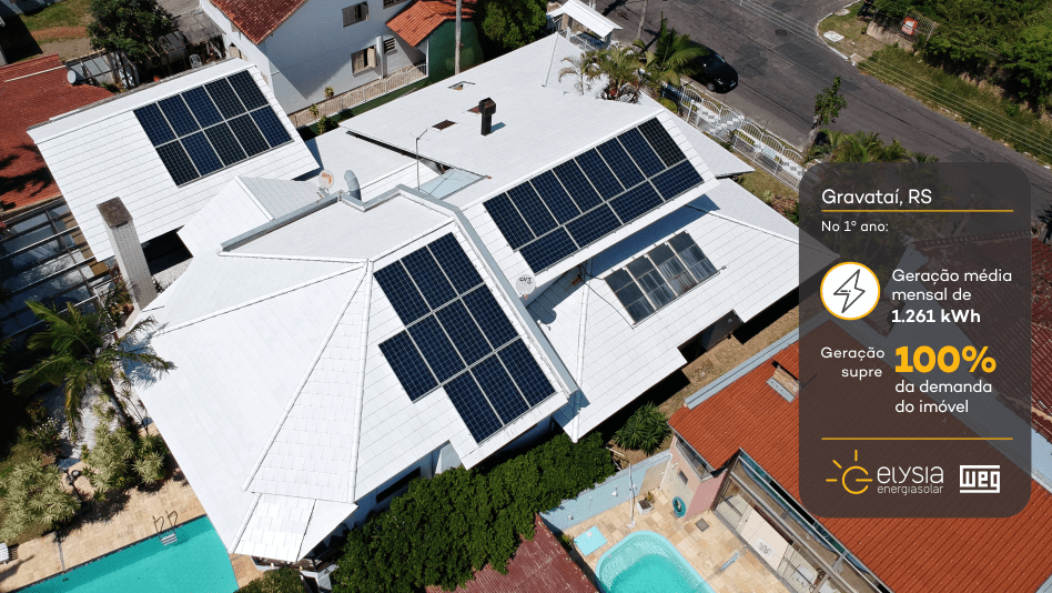 Residência de Gravataí energia solar - Elysia sistema fotovoltaico Rio Grande do Sul