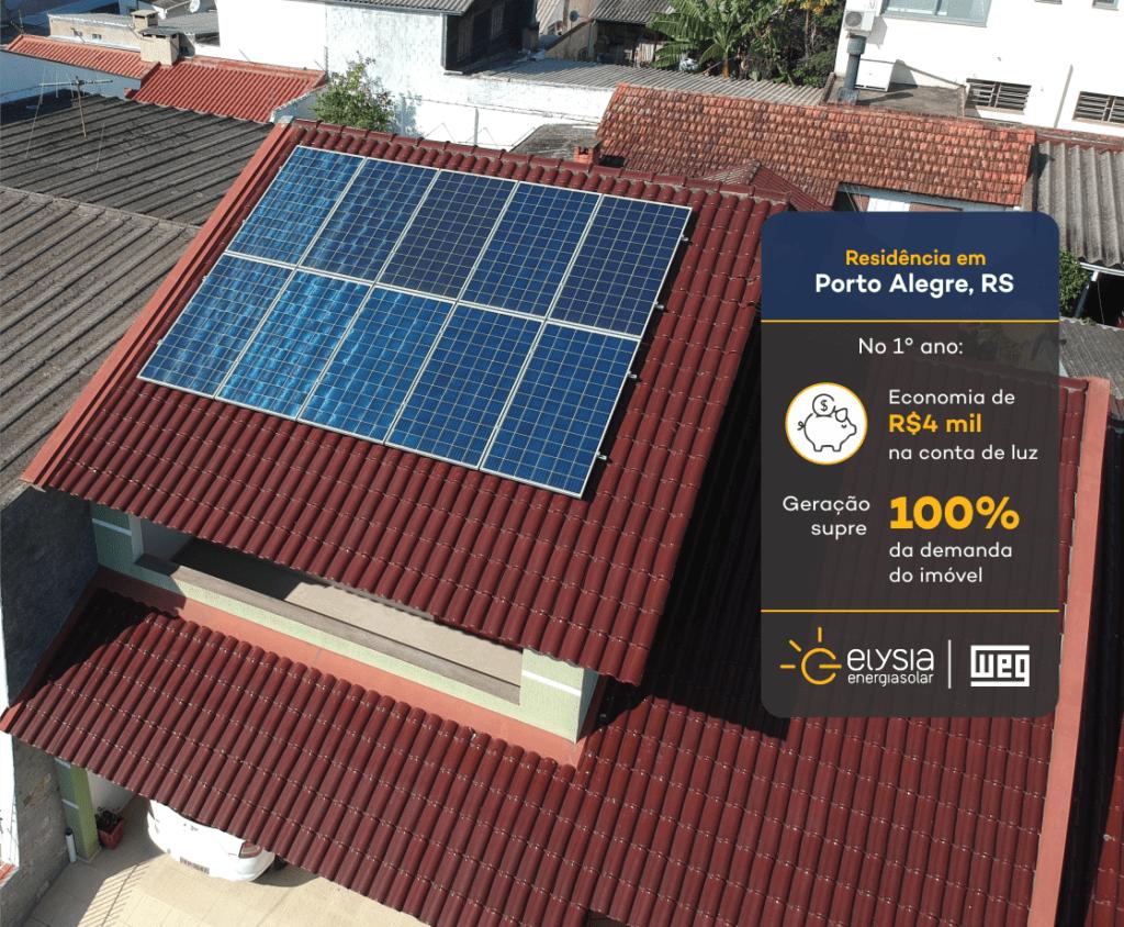 Geração de energia solar - Elysia sistema fotovoltaico Rio Grande do Sul