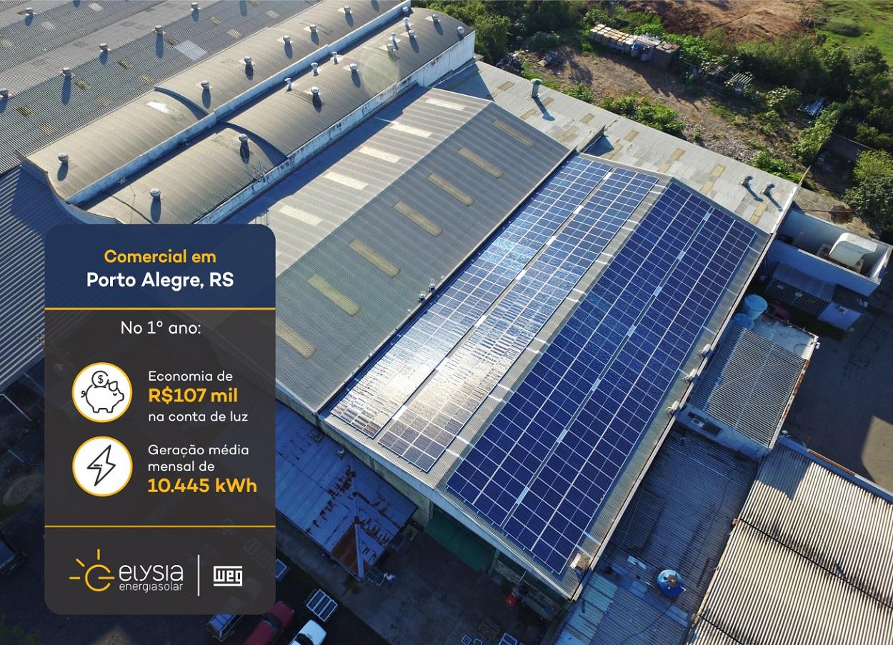 Energia solar em metalúrgica - Elysia sistema fotovoltaico Rio Grande do Sul