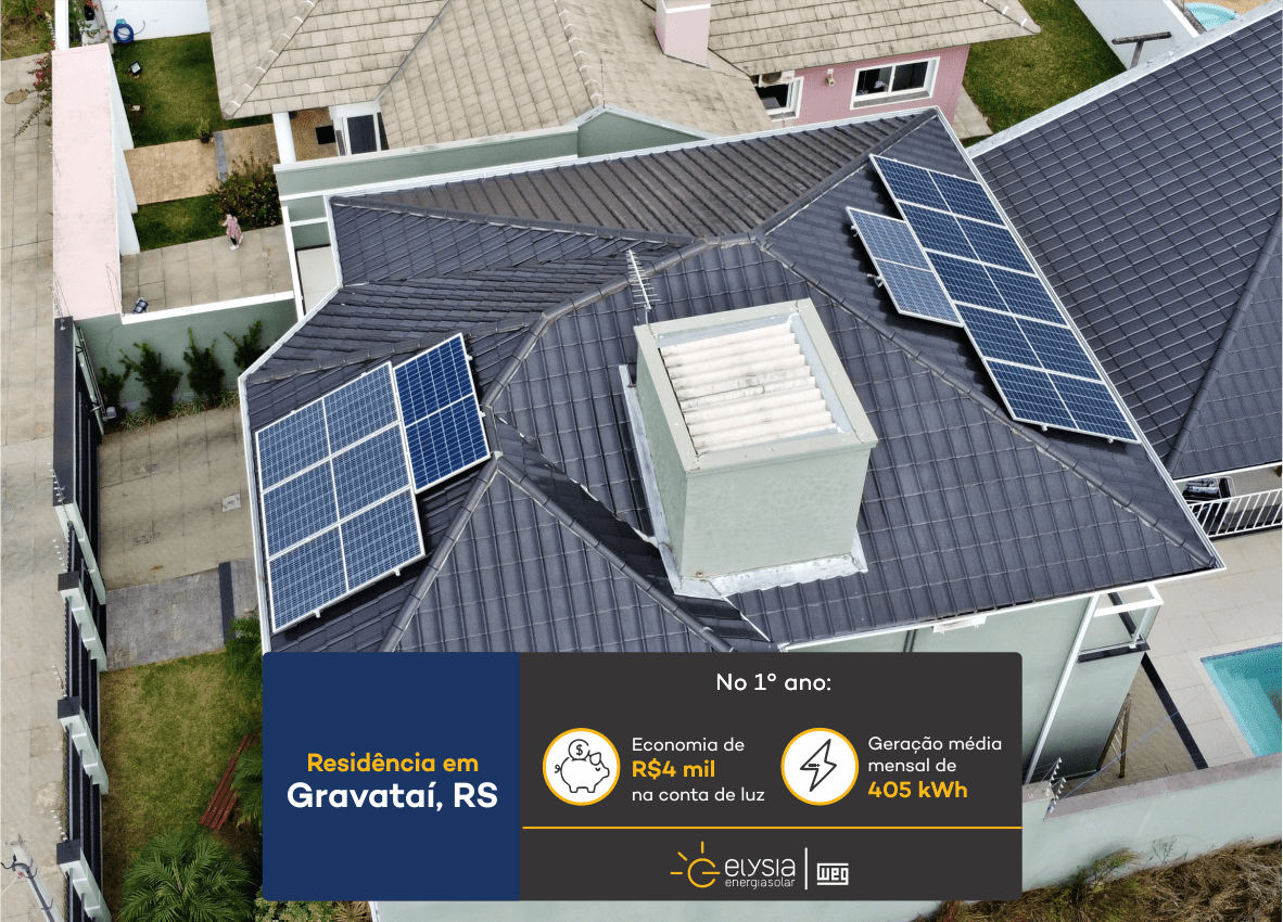 Sistema fotovoltaico residencial em Gravataí - Elysia energia solar Rio Grande do Sul