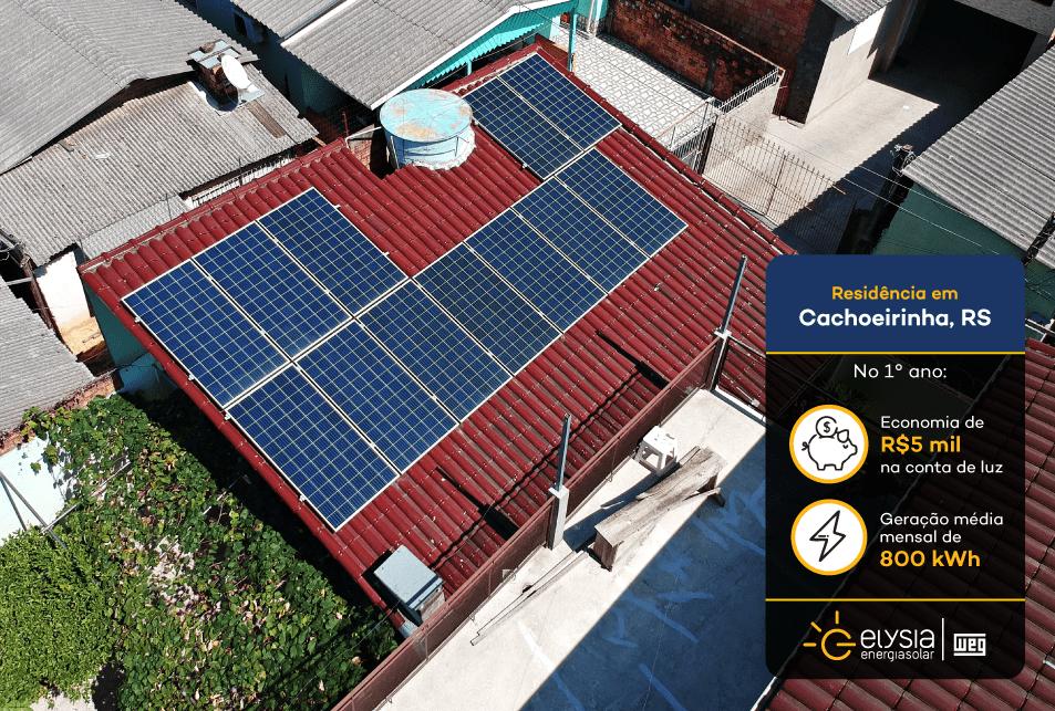 Energia solar residencial em Cachoeirinha - Elysia sistema fotovoltaico Rio Grande do Sul
