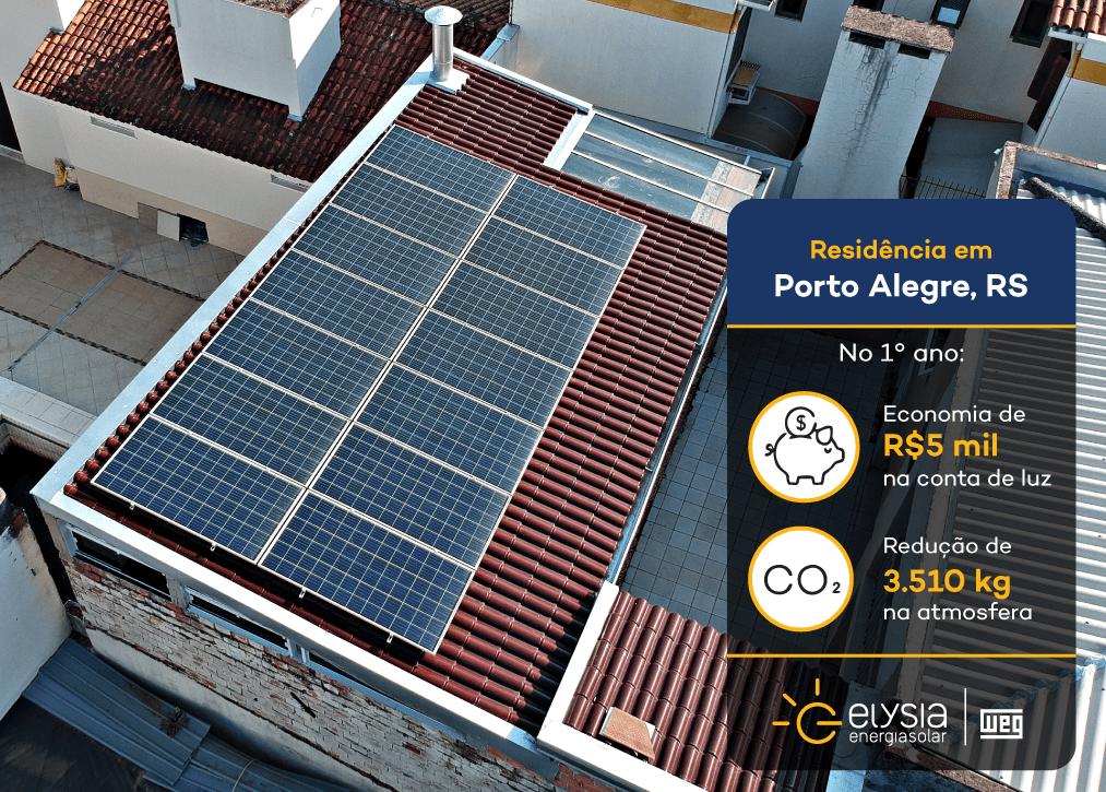Energia solar no bairro Sarandi - Elysia sistema fotovoltaico Porto Alegre