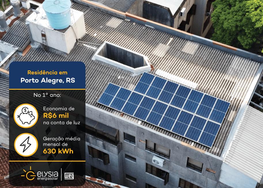 Energia solar em apartamento - Elysia sistema fotovoltaico Porto Alegre