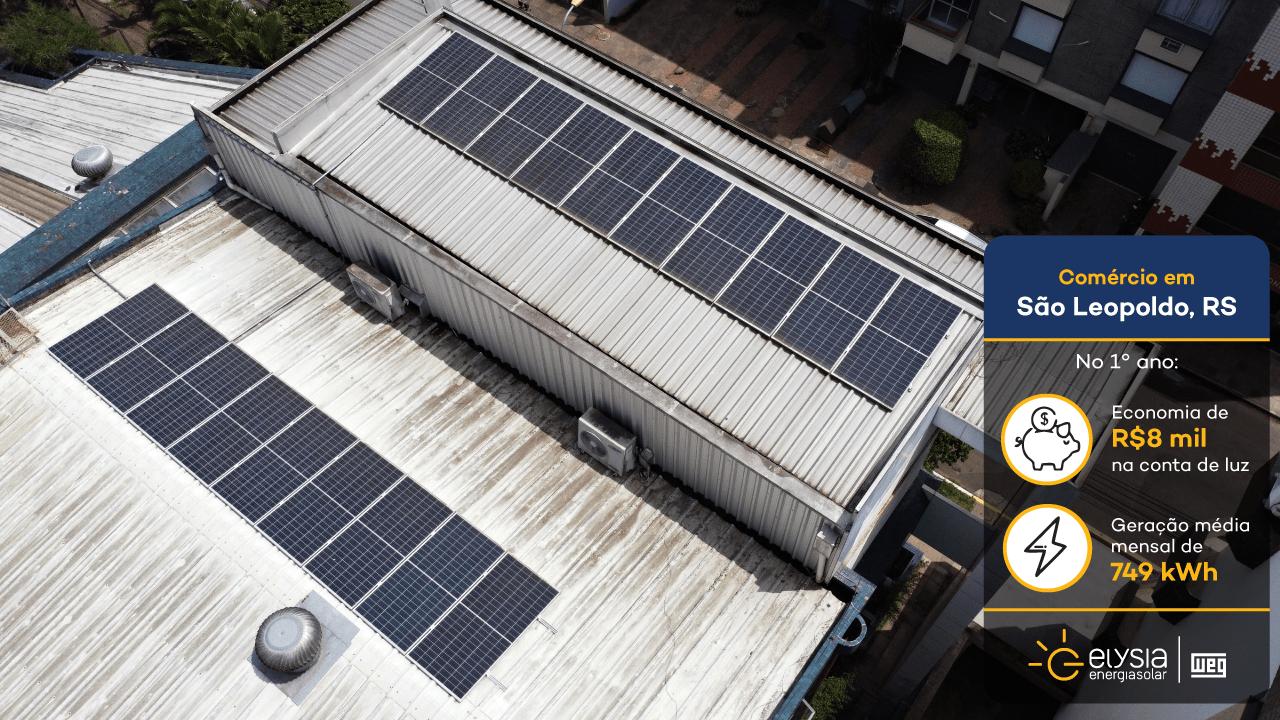 Energia solar em academia - Elysia energia fotovoltaica São Leopoldo