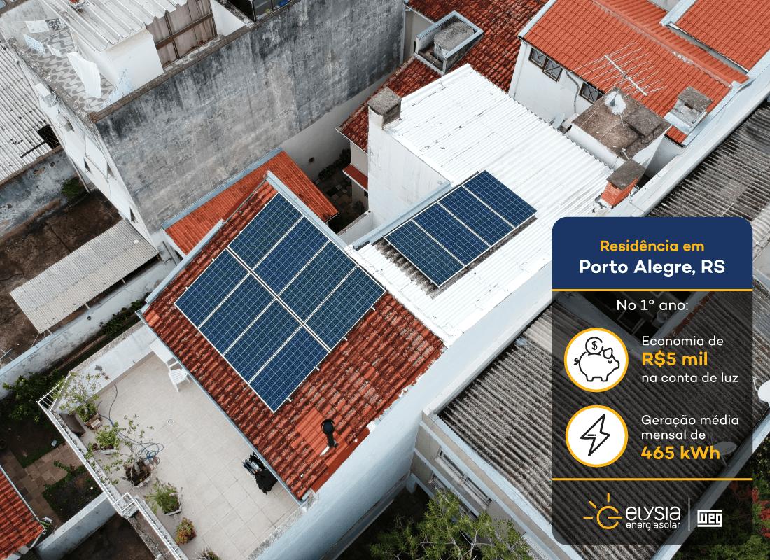 Energia limpa em residência de Porto Alegre - Elysia energia solar Rio Grande do Sul