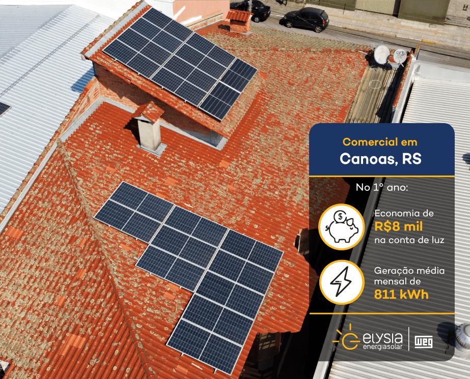 Energia solar em casa de eventos - Elysia sistema fotovoltaico em Canoas