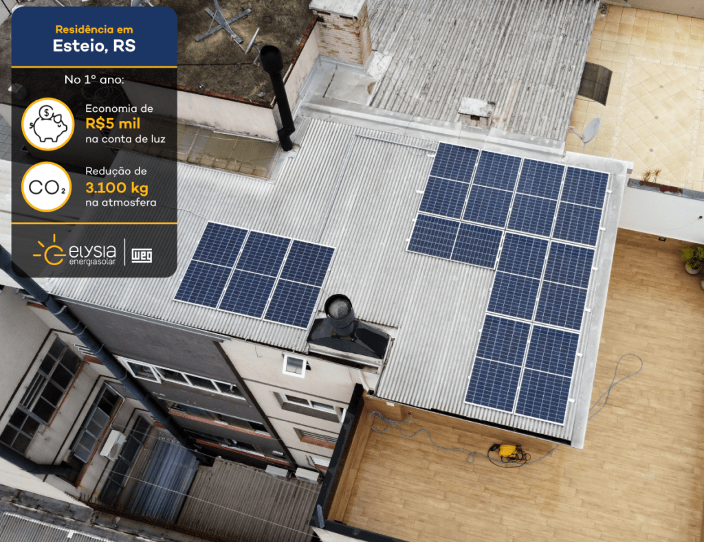 Sistema fotovoltaico em Esteio - Elysia energia solar residencial
