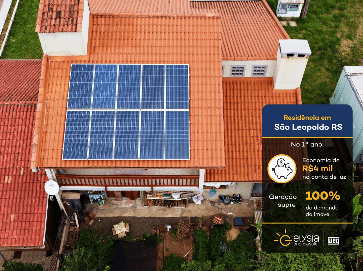 Energia fotovoltaica em São Léo - Elysia energia solar Vale dos Sinos
