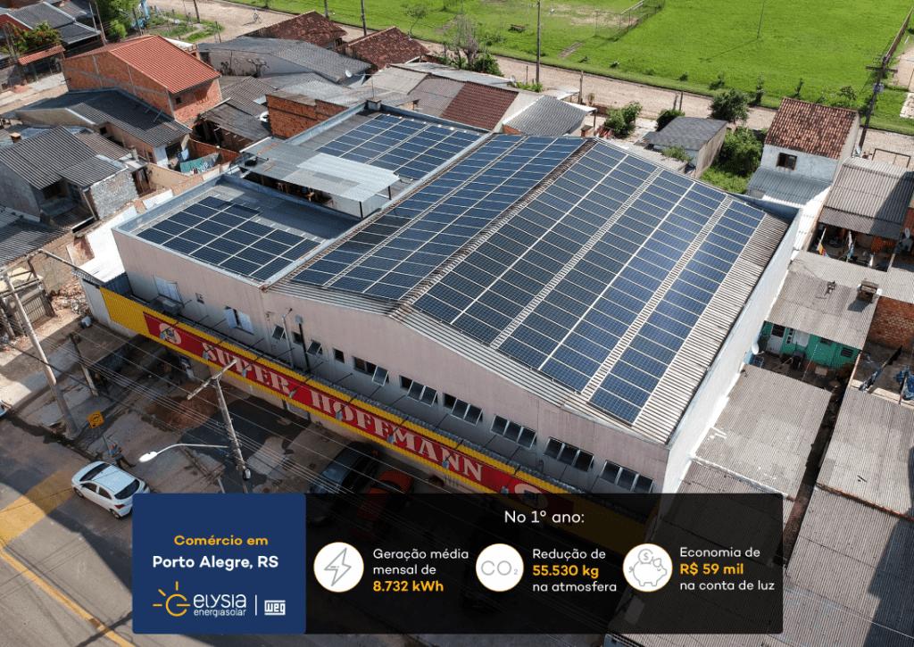 Energia solar supermercado Porto Alegre - Elysia energia fotovoltaica comercial