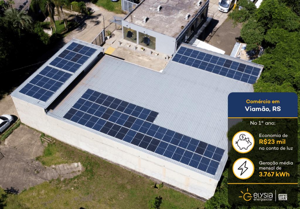 Energia solar comercial - Elysia sistema fotovoltaico Viamão