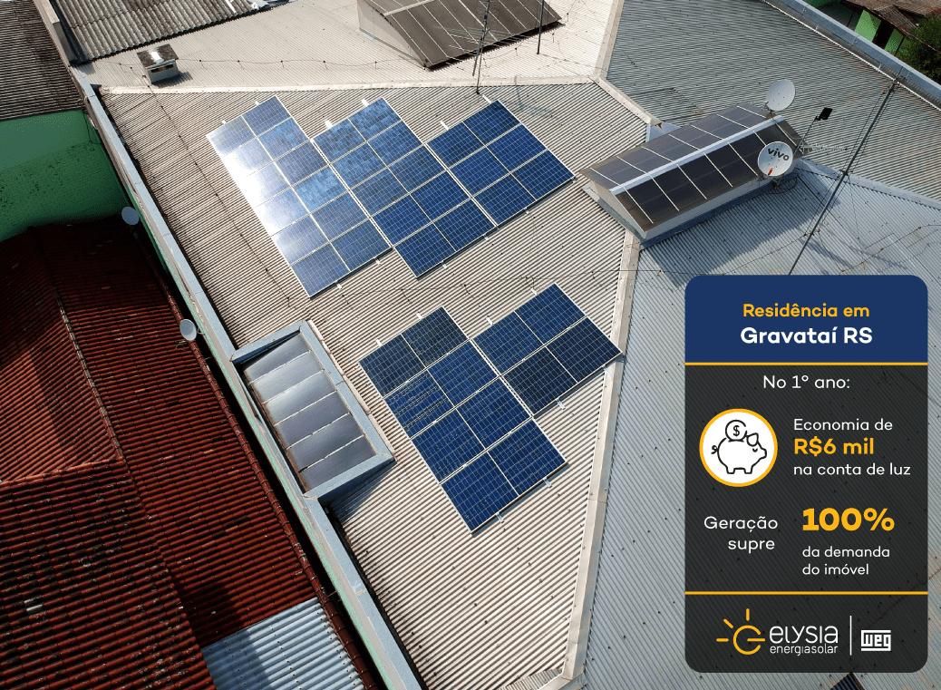 Energia solar Gravataí - Elysia sistema fotovoltaico RS