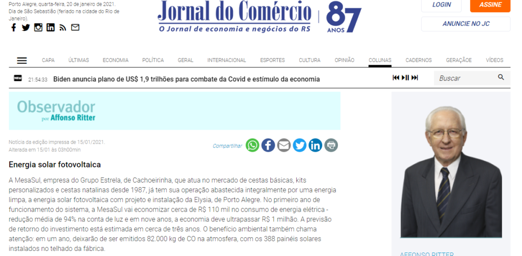 Jornal do comércio MesaSul Energia Solar - Elysia sistema fotovoltaico RS