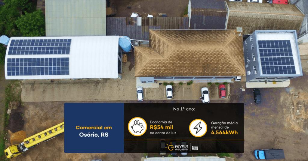 Energia solar posto de gasolina - Elysia sistema fotovoltaico comercial Rio Grande do Sul