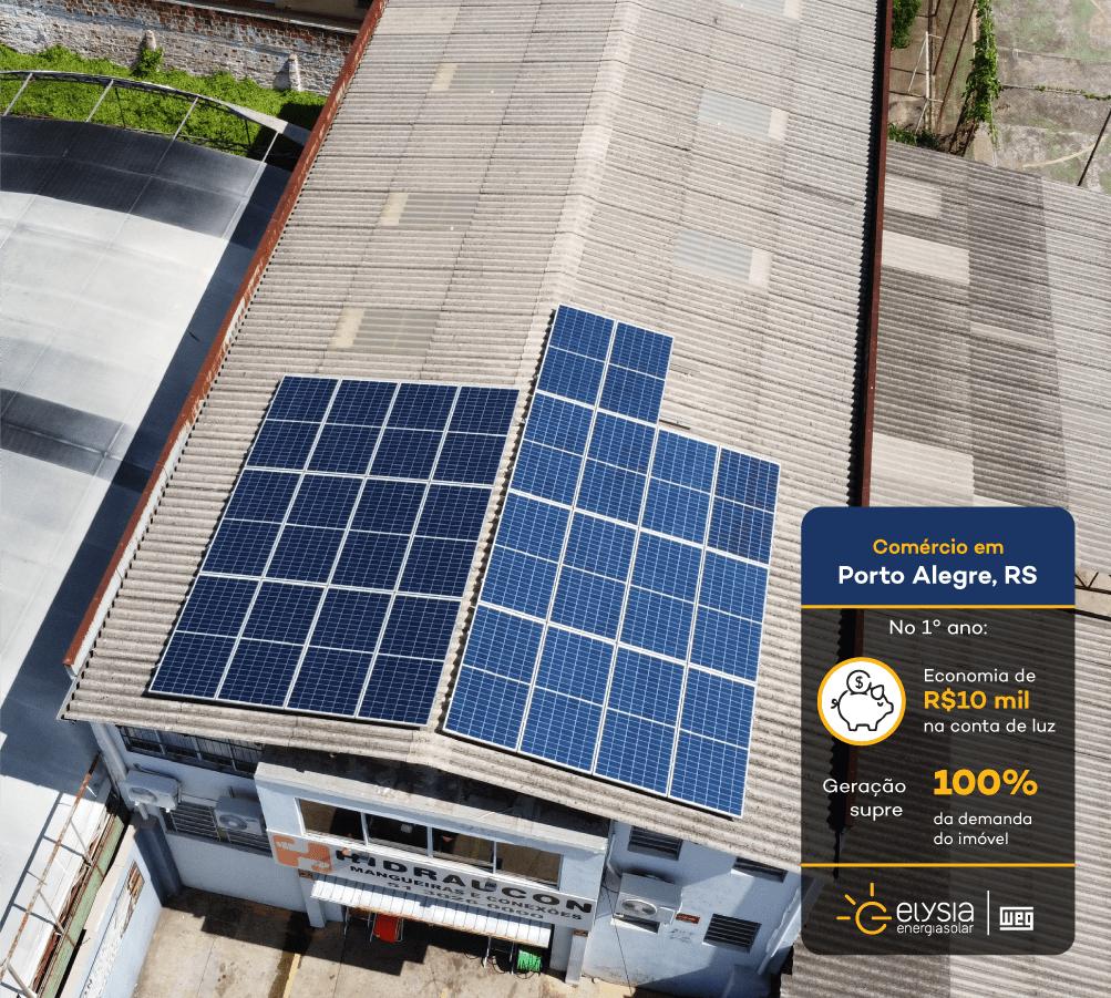 Energia solar empresa - Elysia sistema fotovoltaico comercial Porto Alegre
