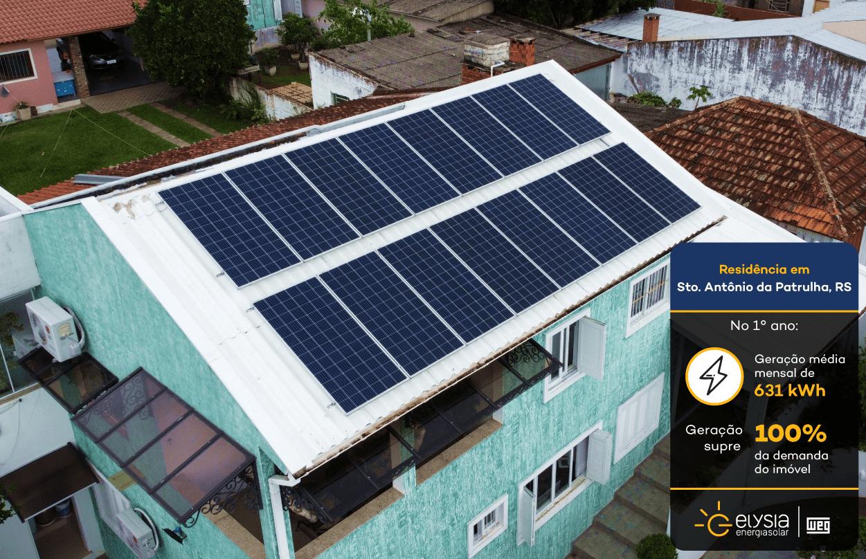 Energia solar Santo Antônio da Patrulha - Elysia sistema fotovoltaico Rio Grande do Sul