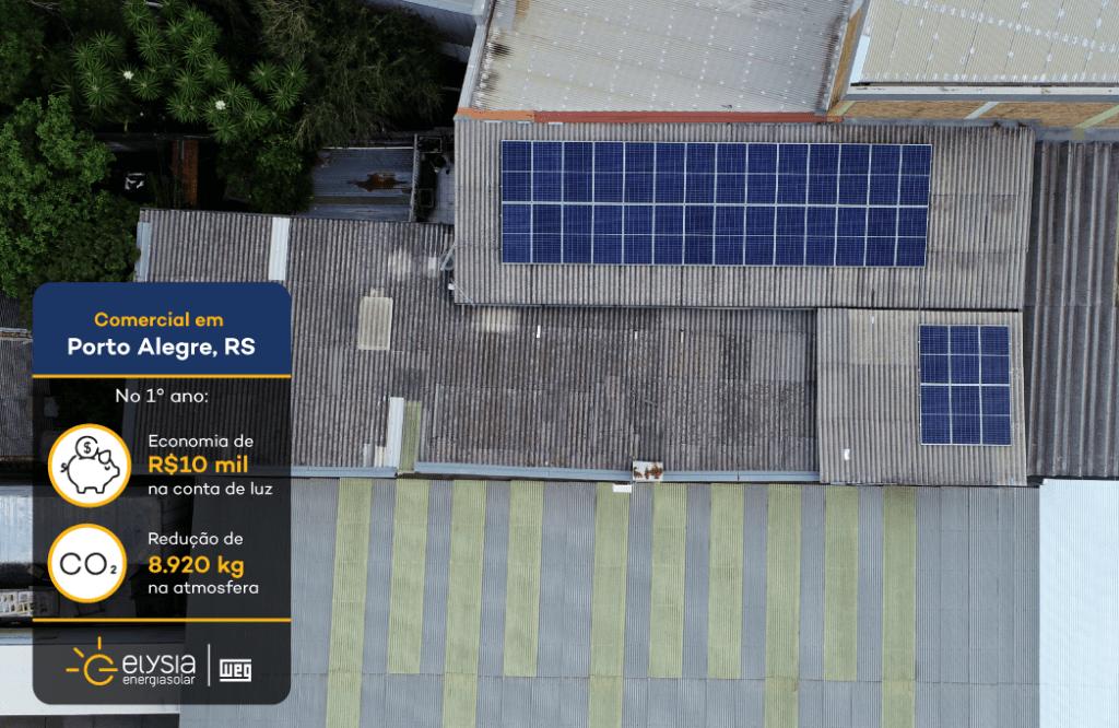 Energia solar em loja de móveis Porto Alegre - Elysia sistema fotovoltaico
