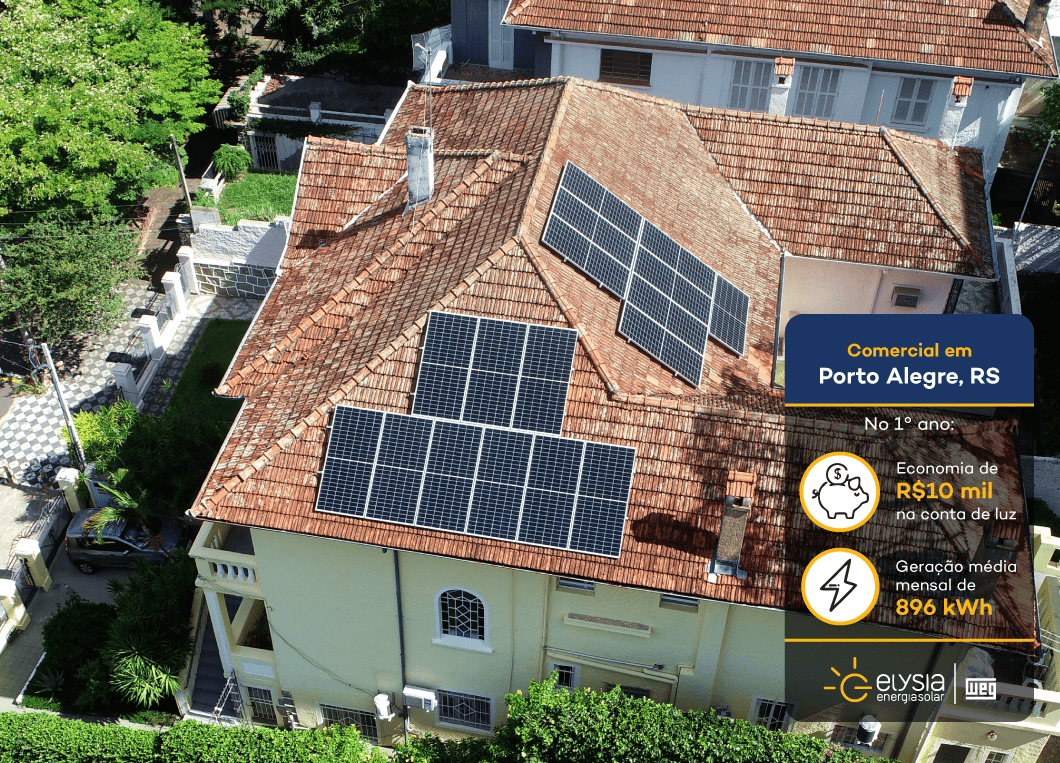 Clínica geriátrica energia solar Porto Alegre - Elysia sistema fotovoltaico Rio Grande do Sul