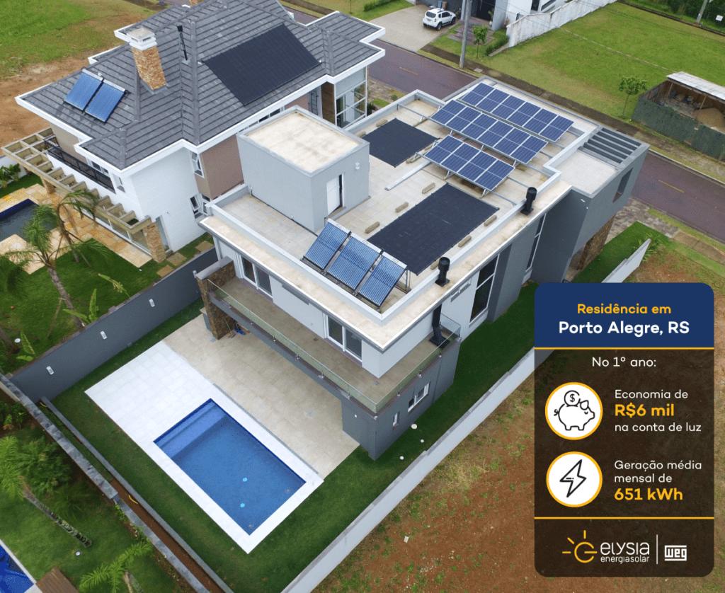 Energia solar imóvel residencial Porto Alegre - Elysia sistema fotovoltaico