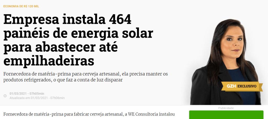 Projeto energia solar Porto Alegre GZH - Elysia sistema fotovoltaico RS