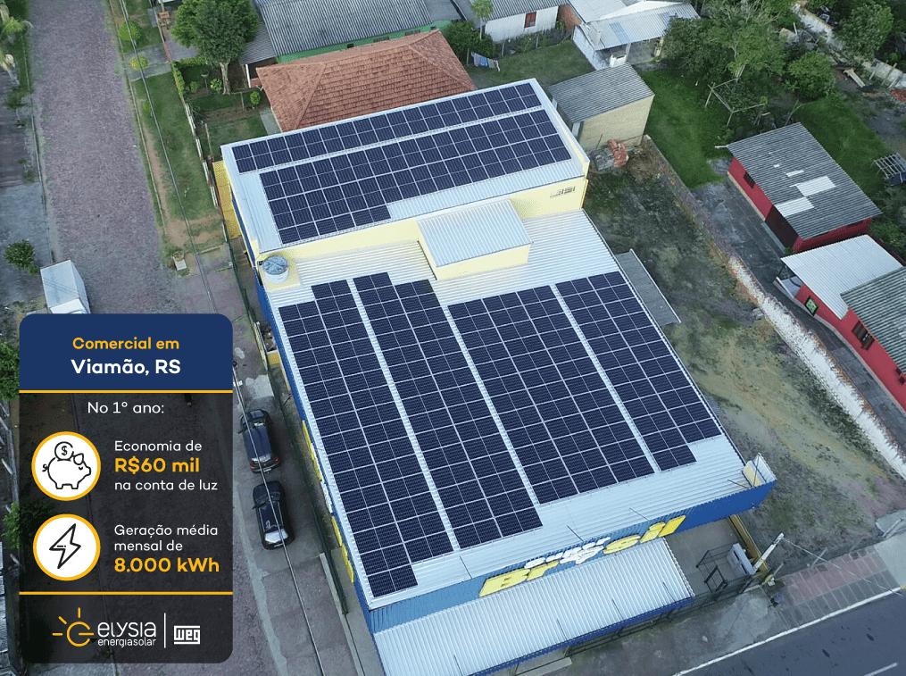 Supermercado energia solar Viamão - Elysia sistema fotovoltaico comercial Rio Grande do Sul
