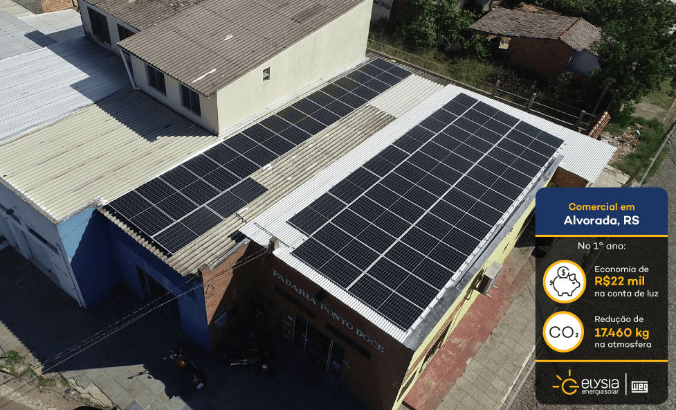 Energia solar padaria Alvorada - Elysia sistema fotovoltaico RS