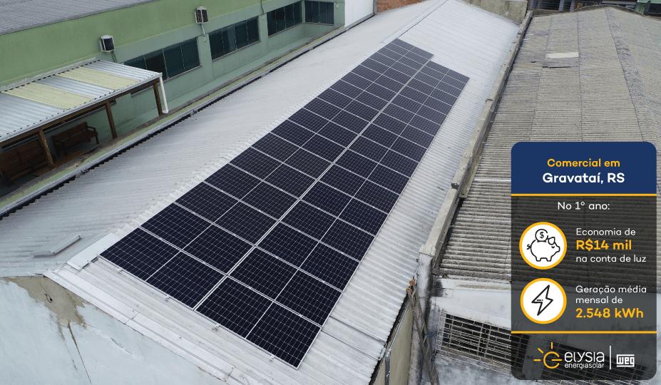 Loja de móveis com energia solar - Elysia sistema fotovoltaico comercial Rio Grande do Sul