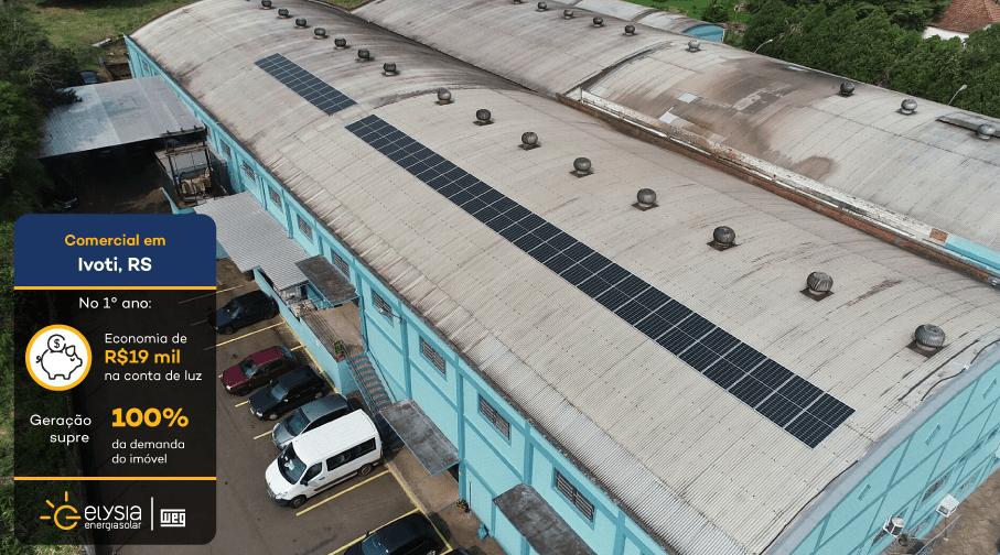 Energia solar indústria Ivoti - Elysia sistema fotovoltaico industrial Rio Grande do Sul