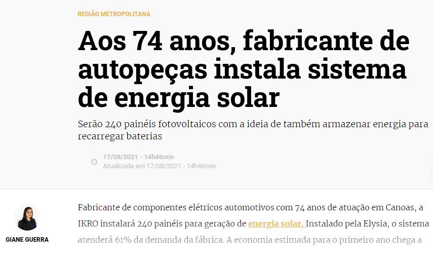 Projeto fotovoltaico Elysia - Energia solar Rio Grande do Sul
