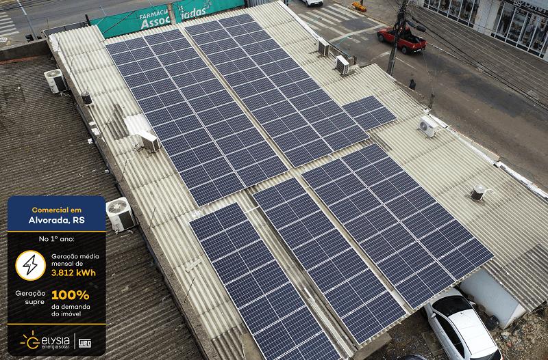 Farmácia energia solar - Elysia sistema fotovoltaico comercial Rio Grande do Sul