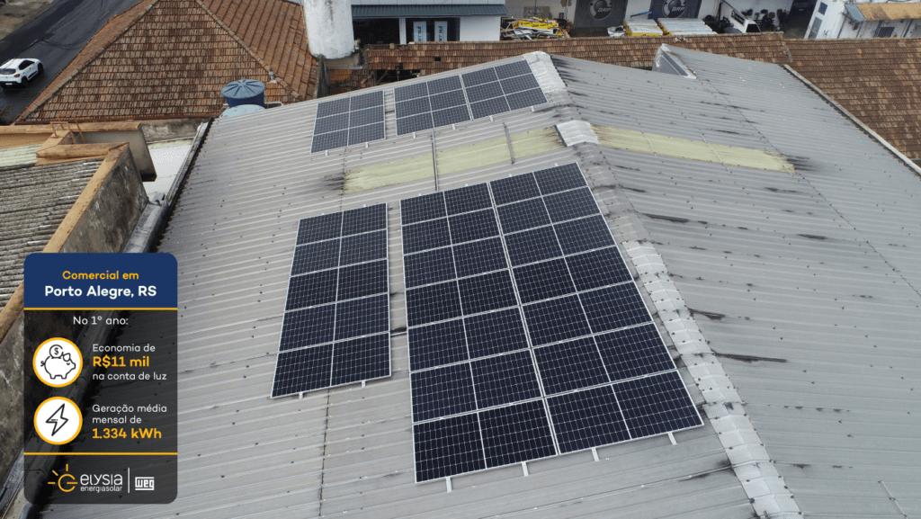Energia solar oficina mecânica Porto Alegre - Elysia sistema fotovoltaico RS